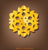 Postal de navidad vintage con copo de nieve de origami, vector ilust — Vector de stock