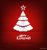Merry Christmas postcard with origami Christmas tree, vector ill — Stock Vector