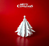 Vintage Christmas postcard with true paper christmas tree — Stock Photo