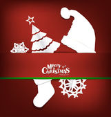 Merry Christmas greeting card with Christmas decoration, vector — Stockvector