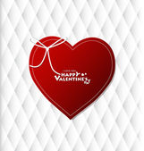 Valentine's day card with Heart Paper. Vector illustration — Stock Vector