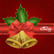 Christmas background with Christmas bells, vector illustration. — Stock Vector #17469725