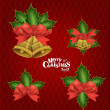 Christmas background with Christmas bells, vector illustration. — Stock Vector #17469977