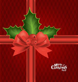 Christmas background with red bow, vector illustration. — Stock Vector