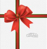 Elegante fondo de navidad con lazo rojo, ilustración vectorial. — Vector de stock