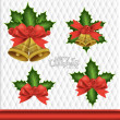 Stock Vector: Christmas background with Christmas bells, vector illustration.