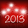 Happy new year 2013 with Red starry firework, vector illustratio — Διανυσματικό Αρχείο