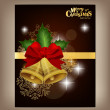 Happy New Year and Merry Christmas postcard with red ribbon, vec — Stock vektor