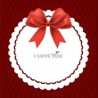 Beautiful cards with red bows and ribbons, vector illustration. — Stockvektor