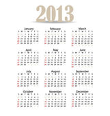 Simple 2013 year calendar, vector illustration. — Cтоковый вектор