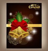 Bonne année et joyeux noël postcard, avec ruban rouge, vec — Vecteur