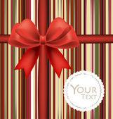 Hermosas tarjetas con arcos rojos y cintas, vector illustration. — Vector de stock