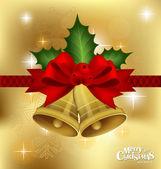 Happy new year en merry christmas ansichtkaart met rood lint, vec — Stockvector