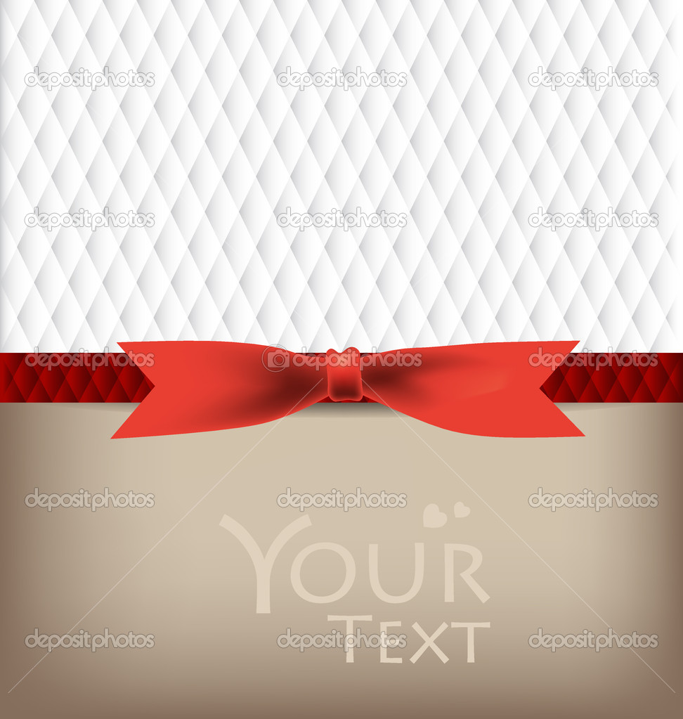 Beautiful cards with red bows and ribbons, vector illustration. — Stock Vector #17859251