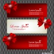 Collection of gift cards and invitations with ribbons. Vector il — Vettoriali Stock