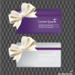 Collection of gift cards and invitations with ribbons. Vector il — Stok Vektör
