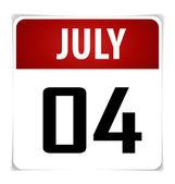 Calendario simple fecha-4 de julio, ilustración vectorial. — Vector de stock
