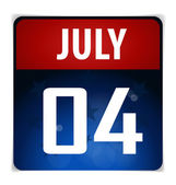 Simple Calendar Date- July 4th, vector illustration. — Stock Vector