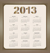 Simple 2013 year calendar, vector illustration. — Stock Vector