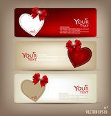 Collezione di carte regalo e inviti con nastri. vector il — Vettoriale Stock