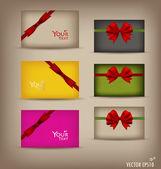 Samling presentkort och inbjudningar med band. vektor il — Stockvektor