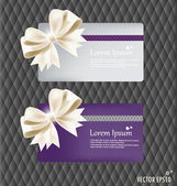 Collection of gift cards and invitations with ribbons. Vector il — Stock Vector