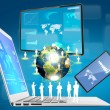 Stockfoto: Laptop,mobile phone,touch screen device (Elements of this image