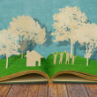 Paper cut of family symbol on old grass book ( House,Tree,Mom,Da — Stock Photo #18737527