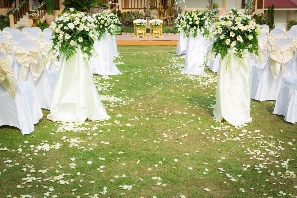 Wedding ceremony in a beautiful garden stock photo for Beautiful gardens to get married in