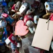 Many heart padlocks love symbol - Stock Photo