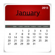 Stock Vector: Simple 2013 calendar, January. All elements are layered separate