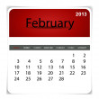 Stock Vector: Simple 2013 calendar, February. All elements are layered separat