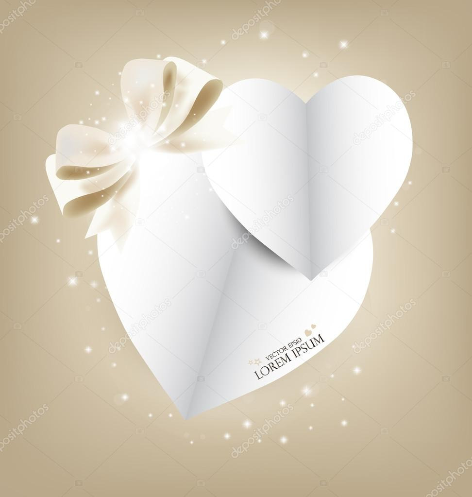 Valentine's day card with Heart Paper. Vector illustration. — Stock Vector #18848687