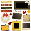 Collection of vintage photo frames, frames and paper on a white - Stock Vector