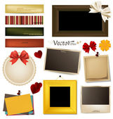 Collection of vintage photo frames, frames and paper on a white — Vecteur