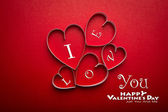 Paper heart shape symbol for Valentines day with copy space fo — Stock Photo