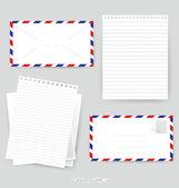 Papier ontwerpen: envelop en verschillende papieren, klaar voor uw messa — Stockvector