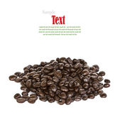 Close up of coffee beans on white background with copy space. — Stock Photo
