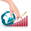 Hand point business  red graph and earth — Stock Photo