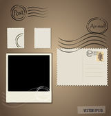Vector illustration of a blank grunge post stamps and photo fram — Stock Vector