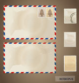 Envelope and stamp. Vector Illustration — Stok Vektör
