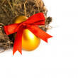 Golden easter eggs in nest isolated on white background — Zdjęcie stockowe