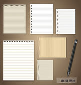 Vector set: Vintage paper designs (paper sheets, lined paper and — Stock Vector