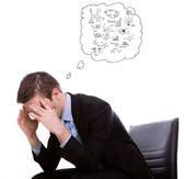 Portret przygnębiony z pracy człowiek młody biznes — Zdjęcie stockowe