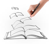 Hand drawing open flying book — Stock Photo