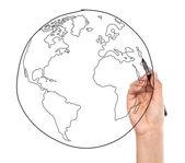 在白板上绘制地球的商人 — 图库照片