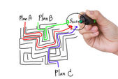 Hand drawing business plan — Stock Photo
