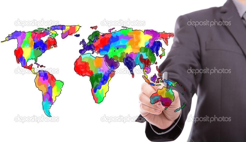 商人绘图色彩鲜艳的世界地图