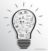 Ampoule avec des éléments de graphique et infographie. vecteur illus — Vecteur