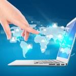 Modern laptop with digital vurtual screen — Stock Photo
